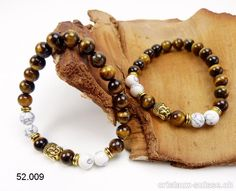 Bracelet Oeil de Tigre et Magnésite 8 mm avec Bouddha doré, élastique 19 cm Agate, Beaded Bracelets, Brown, Leather, Jewelry, Tiger Eye Bracelet, Buddha, Crystals, Eyes