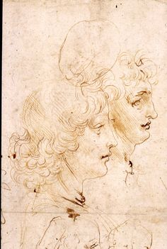 The Madonna and Child with the infant Baptist, and heads in profile | Royal Collection Trust - Leonardo da Vinci