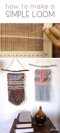 This DIY loom is exactly how you make your own customized wall hangings from yarn. Easy to make, this loom will take you back to your childhood when you used to make weaved rugs for hours! DIY on site. Weaving Loom Diy, Pin Weaving, Rug Loom, Weaving Art, Weaving Patterns, Weaving Textiles, Loom Bands, Tapestry Loom, Weaving Wall Hanging