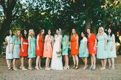 tangerine and turquoise  | tangerine and aqua bridesmaid dresses // photo ... | wedding wonder...