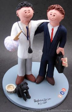Gay Doctors Wedding Cake Topper Is there a doctor in the house??!!...you better believe it...and he has a prescription for True Love indeed... ...this wedding cake topper was created for a neurologist and his stock broker partner... and their pet dog! $235#gay#same_sex#2men#2grooms#wedding #cake #toppers  #custom #personalized #Groom #bride #anniversary#homosexual #birthday#wedding_cake_toppers#cake_toppers#figurine#gift