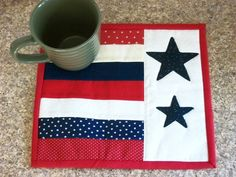 Mug Rug Coaster Quilted Stars Stripes Red by NeedlesnPinsStichery