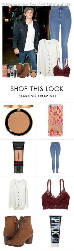 """""""Walking around down town LA with Niall on a fall night"""" by mare-bear-moonlight ❤ liked on Polyvore featuring Too Faced Cosmetics, Casetify, L'Oréal Paris, Topshop, Each X Other, American Eagle Outfitters and Madden Girl"""
