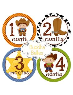 Western Monthly Baby Stickers Cowboy Baby Shower by BuddhaBellies