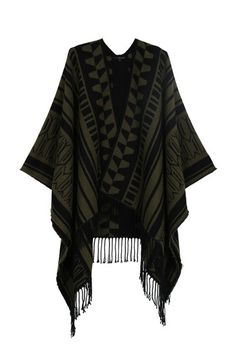 Khaki Aztec Knit Poncho with Fringe Tally Weijl, Knit Poncho, Online Checks, Aztec, Must Haves, Kimono Top, Fashion Outfits, Clothes For Women, Knitting