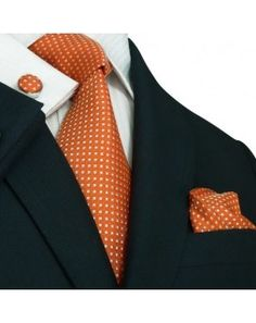 TheDapperTie - New Men's Orange Geometric Silk Tie Set 27M