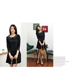 textured peterpan collar cuff a-line dress  CODE: RBNRB21-O-533  Price: SG $42.40(US $34.19)