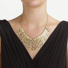 Buy John Lewis Textured Fan Necklace, Gold Online at johnlewis.com