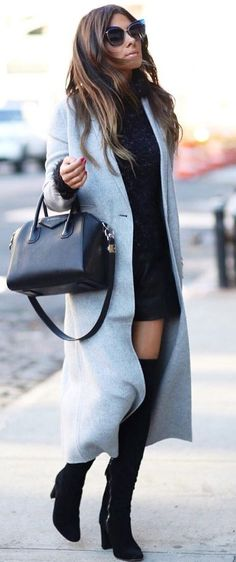 best fall outfit / cashmere coat + little black dress + bag + over knee boots