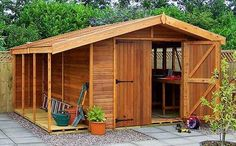 Build a garden shed yourself with a woodworkingplan? Build yourself a beautiful garden shed of wood with this step by step woodworkingplan for a shed! shed design shed diy shed ideas shed organization shed plans Diy Storage Shed Plans, Backyard Storage Sheds, Wood Shed Plans, Free Shed Plans, Backyard Sheds, Outdoor Sheds, Bike Storage, Outdoor Storage, Garden Sheds For Sale