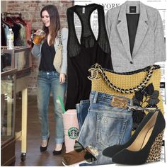 Celebrity Street style : Rachel Bilson by fashionmint on Polyvore featuring moda, KEEP ME, Smythe, Diesel, Giuseppe Zanotti, Ray-Ban, Chanel, Rachel, jeans and chanel