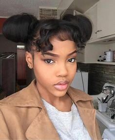 Love this simple two bun & bang hairstyle! Added to pretty hairstyles.