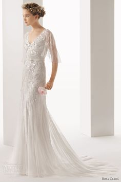 Rosa Clara Ubela Beaded Wedding Dress With Overlay - 2014 Collection - (weddinginspirasi)