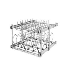 Rev-A-Shelf in. W x 22 in. D Pull-Out Two-Tier Base Cabinet Cookware Organizer with Soft-Close Slides, Silver metallic Rev-A-Shelf in. W x 22 in. D Pull-Out Two-Tier Base Cabinet Cookware Organizer with Soft-Close Slides, Silver Metallic, Pull Out Kitchen Cabinet, Kitchen Shelves, Kitchen Storage, Kitchen Cabinets, Kitchen Wood, Pantry Storage, Storage Rack, Basket Organization, Kitchen Cabinet Organization