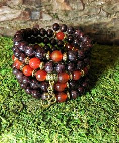 Semi Precious Beads, Beaded Wrap Bracelets, Prayer Beads, Love Symbols, Carnelian, Etsy Jewelry, Rose Buds, Fashion Bracelets, Garnet
