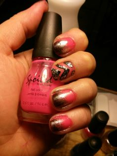 """Pink and black Nails: Spoiled """"tip your waitress"""",  """"daddy's credit card"""" and """"visually slimming""""."""