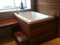 Japanese bath house on pinterest japanese soaking tubs for Short deep tub