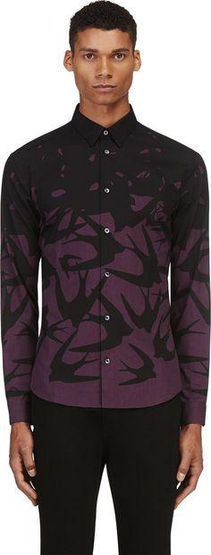 McQ Alexander Mcqueen - Black & Purple Swallow Ombré Shirt | SSENSE