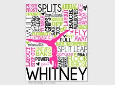 Gymnastics Typography Print, 8x10 Art, Perfect for Girls Room Art, You Choose the Colors, Makes a Great Gift for any Gymnast shown in pink, white, black and green