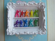 Mini Rainbow Army Men Display by Fairyhome on Etsy, $19.80