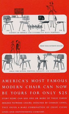 We have a 1951 DCM in stock! Contact us for details. A Rare Look At The Eames Office's Graphic Design Patio Furniture Redo, Furniture Ads, Furniture Stores, Vintage Furniture, Plywood Chair, Innovation Design, Business Innovation, Exhibition Poster, Mid Century Modern Design