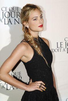 Nora Arnezeder-  loose side #braid, red lips