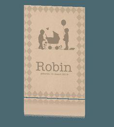 Babykaartje profiel karton met broertjes voor derde kind