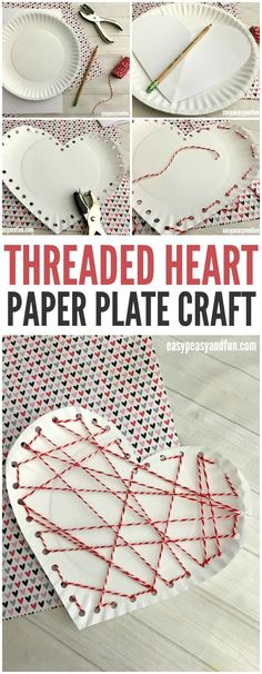 A sweet way to work on fine motor skills this spring! Make a threaded heart paper plate craft for Valentine's Day #valentinesday #kidscrafts