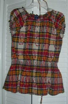 Ralph Lauren Plaid With Floral Design Girl's Short Sleeve Blouse Size 16