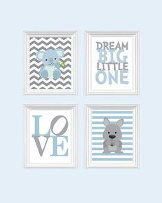 Kangaroo Nursery Art Baby Boy Prints Blue Decor