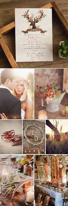 boho inspired chic rustic deer flower wedding invitationsfor 2016
