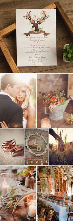 boho inspired chic rustic deer flower wedding invitationsfor 2016