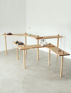 ジグザグテーブル-二本脚でテーブルが立つ!? 立つんです、ジグザグにすると。|イチロのイーロ オンラインストア
