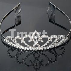 99 Rhinestone Crown Hair Clip Headband Silver White,$4.34