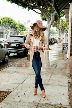 Fall / Winter - Street chic style - camel bohemian hat + white chiffon shirt + denim skinnies + nude stilettos + kaki trench coat