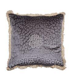 Monogram Cushion x Roberto Cavalli, Fringe Trim, Harrods, Gray Color, Cushions, Monogram, Velvet, Pure Products, Grey