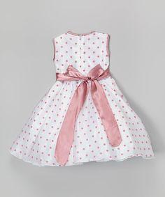 Kid Fashion White & Rose Polka Dot A-Line Dress - Toddler & Girls | zulily