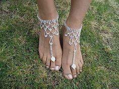 Shining Crystal Barefoot Sandals Anklet Foot Beach Wedding Bridal Bridesmaid | eBay