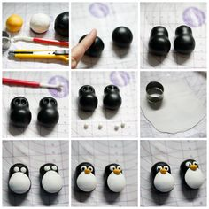 Diy Discover Fondant penguin step by step. Fondant Figures, Fondant Cake Toppers, Clay Figures, Fondant Cakes, Cupcake Toppers, Fondant Bow, Cupcake Cakes, Polymer Clay Animals, Cute Polymer Clay