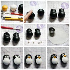 paso a paso pinguino de fondant