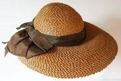 Women straw summer hats | 1940's straw summer hat | Materials: straw, textile
