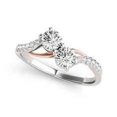 """Elegant and Stylish two tone engagement ring with two stone diamond crafted in 14k gold - Holiday Special 15% Discount Offer, Use Coupon Code""""holiday15"""" - http://www.mybridalring.com/2-Stone-Rings/1-3-ct-tw-unusual-2-stone-two-tone-engagement-ring/"""