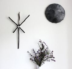 Algiz . pagan viking wall-hanging, twigs rune with wool witchcraft magical decoration .