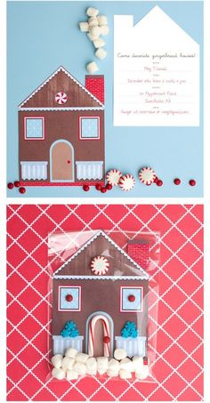 49 Awesome DIY Holiday Cards (Pictured-Gingerbread House Card/party invite)