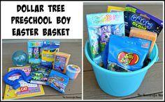 dollar tree Easter basket for a preschool boy