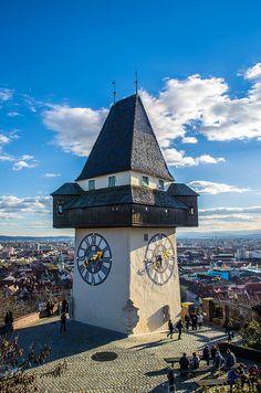 Grazer Uhrturm mit blauem Himmel | Flickr - Photo Sharing! Photography Photos, Big Ben, Clock, Explore, Building, Travel, Heavens, Blue, Watch