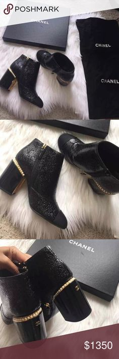 """Chanel bootie. Fit size 6.5 Authentic Chanel. New in box. In perfect new condition. 2 dust bags and shoebox included. 3.5"""" blocked heel. Shiny look. No trades. CHANEL Shoes Ankle Boots & Booties"""