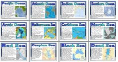 Geography KS2 Resources - Seas and Oceans of the World Classroom Display Posters.  13 posters showing basic information about some of the world's seas and oceans. Includes: Title Poster, Pacific Ocean, Atlantic Ocean, Indian Ocean, Southern Ocean, Arctic Ocean, Mediterranean Sea, Caribbean Sea, Dead Sea, Red Sea, Black Sea, North Sea and Caspian Sea.