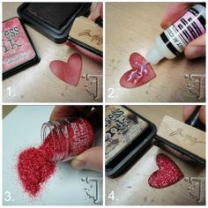 Tutorial: How to create your own embellishments with Tim Holtz Distress Glitter.  #glitter #crafts #diy #scrapbook #scrapbooking #tutorial