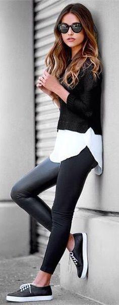 #street #fashion casual fall style B&W @wachabuy